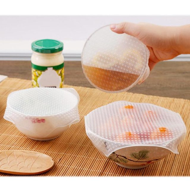 Fresh Keeping Food Silicone Wrap 4 Pcs Set