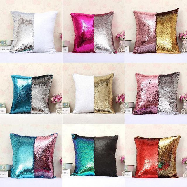 Two Tone Mermaid Sequins Pillow