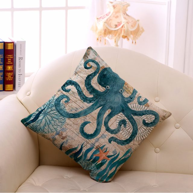 Cotton Sea Design Printed Cushion Cover