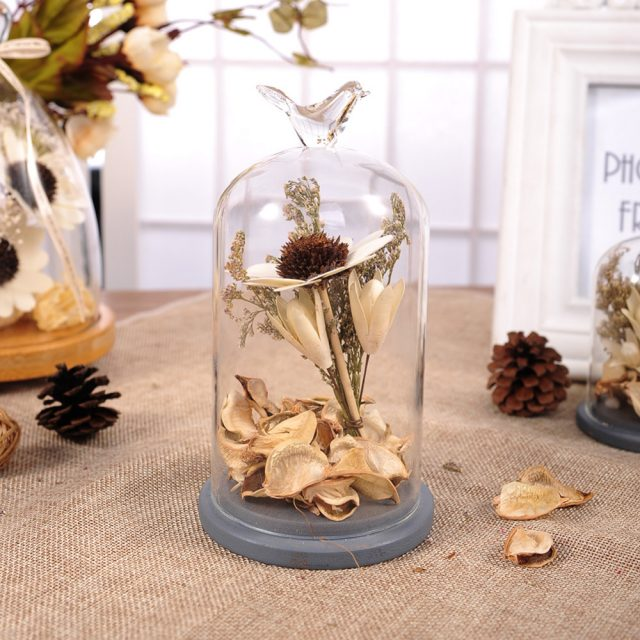 Vintage Style Terrarium Vase with Dried Flowers