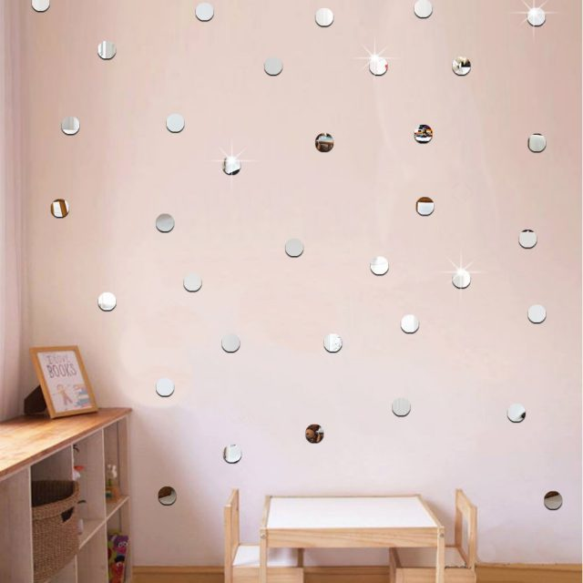 Acrylic Mirrored Decorative Wall Stickers, 100 Pcs/set