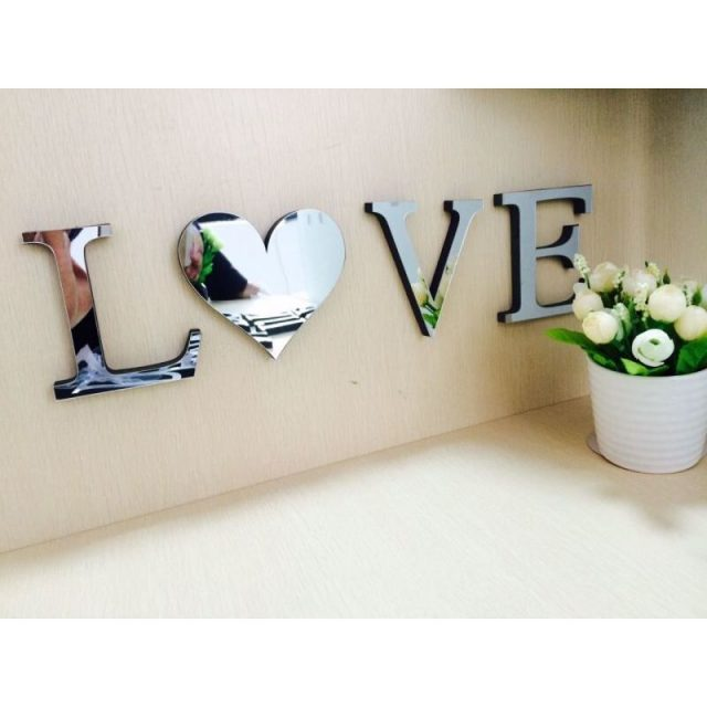 3D Mirror Wall Stickers Letters