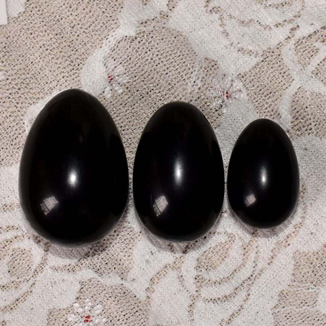 Feng Shui Black Obsidian Eggs Set