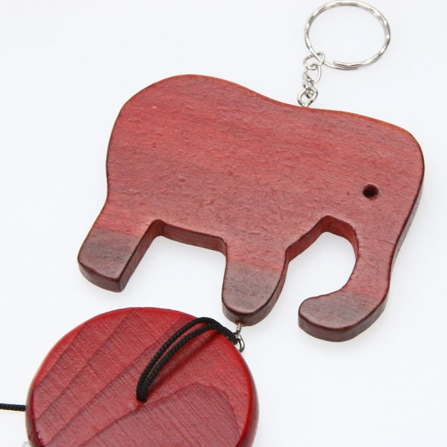 Copper Wind Chimes With Wooden Elephant