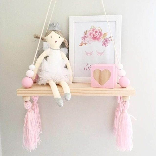 Natural Pine Wood Storage Rack with Cute Tassels