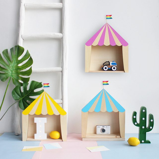 Circus House Shape Wooden Storage Rack
