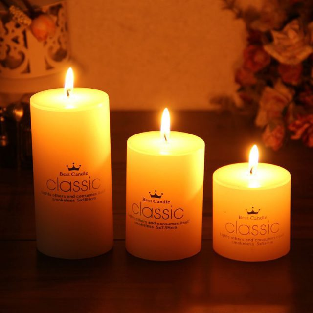 Smokeless Classical White Candle