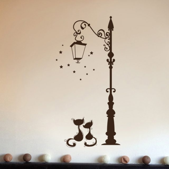 Girl's Romantic Cats Wall Sticker