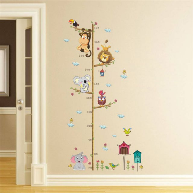 Jungle Animals Height Measure Wall Sticker
