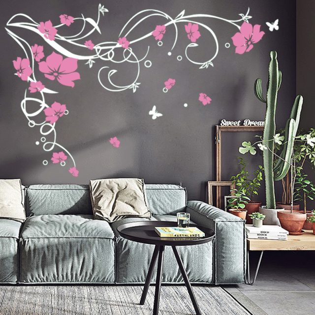 Vinyl Removable Wall Stickers Butterflies and Flowers