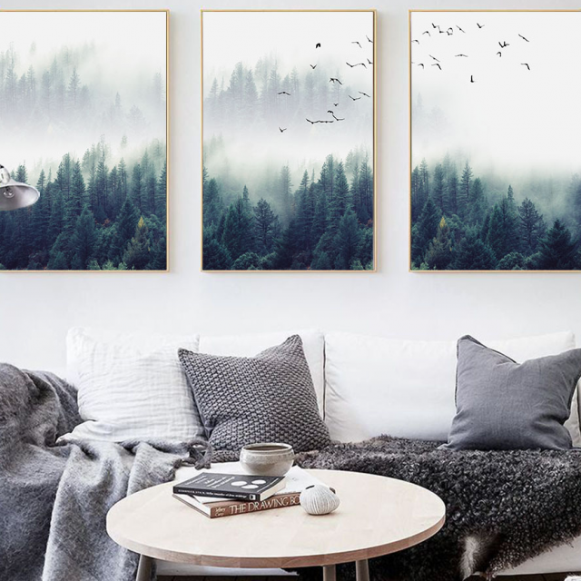 Nordic Forest in Fog Wall Art