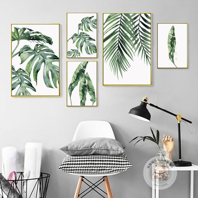 Watercolor Tropical Plants Painting