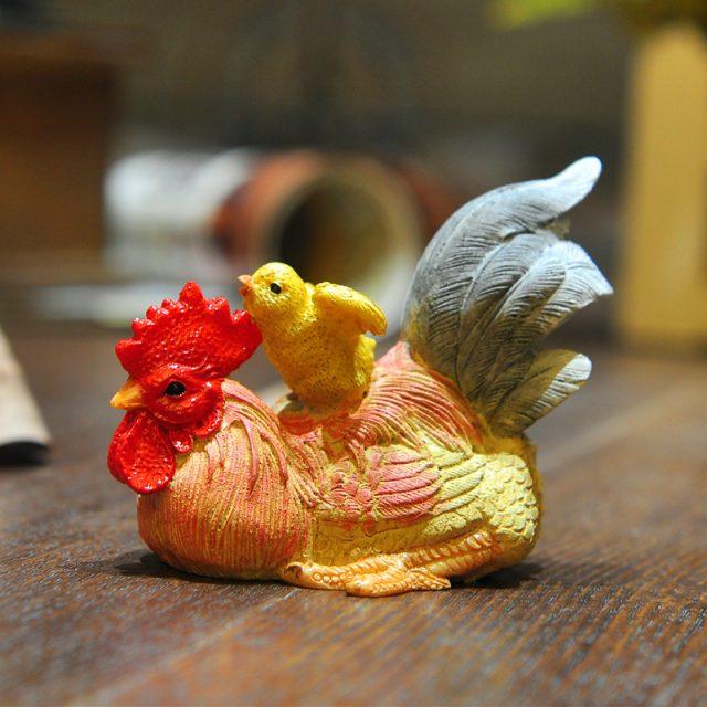 Dancing Roosters Garden Figurines