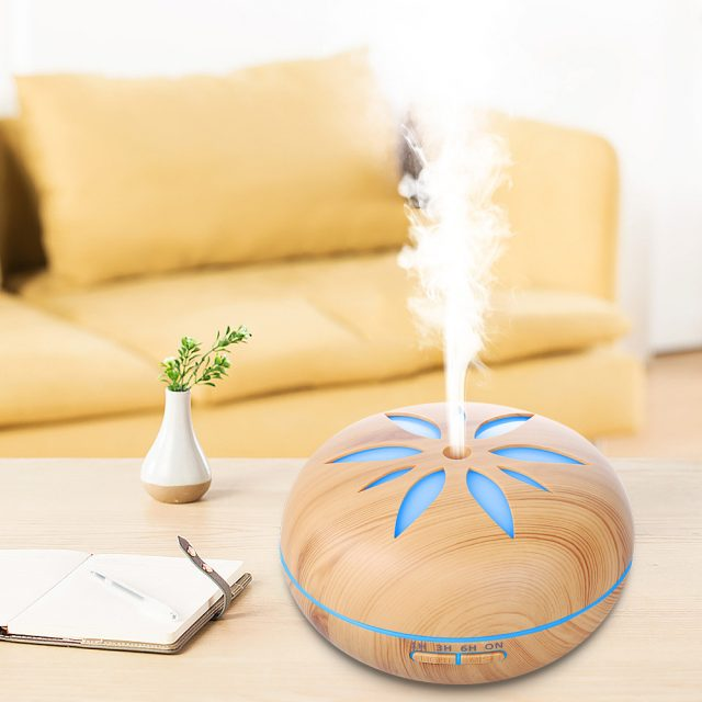 LED Flower Wooden Aroma Diffuser