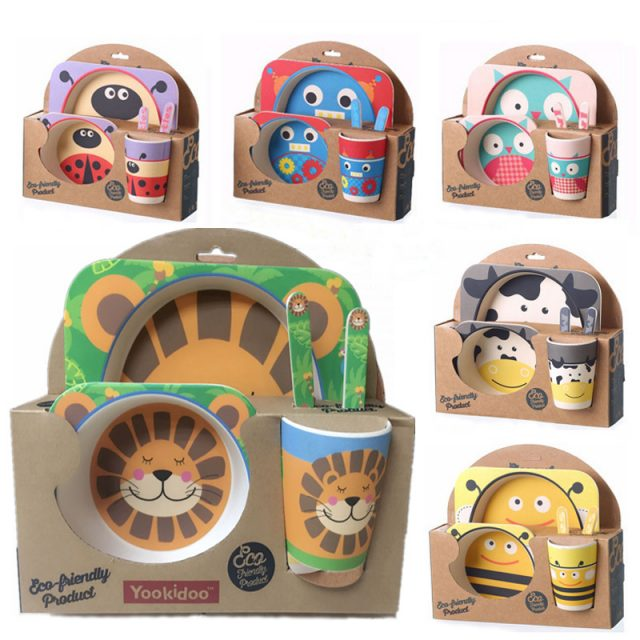 Cute Cartoon Styled Eco-Friendly Bamboo Kid's Dinnerware Set