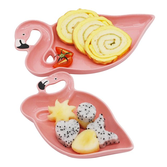 3D Flamingo Shaped Ceramic Plates