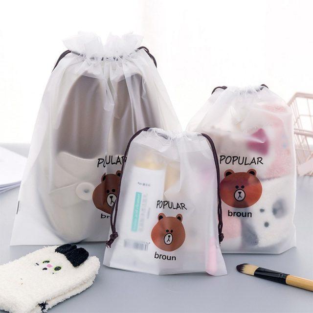 Women's Bear Printed Transparent Cosmetic Bag
